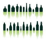 Siluetas de las botellas Fotografía de archivo