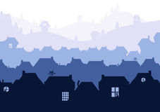 Siluetas de las casas en fondo de descoloramiento del paisaje con las siluetas del gato en aberturas de la ventana Imagenes de archivo