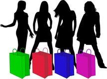 Siluetas de las compras, trabajo del vector ilustración del vector