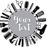 Siluetas de las herramientas para el peluquero en un círculo Imagen de archivo libre de regalías