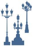Siluetas de las luces de calle Foto de archivo