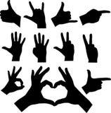 Siluetas de las manos Imagen de archivo libre de regalías
