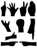 Siluetas de las manos de la gente fijadas Fotografía de archivo libre de regalías