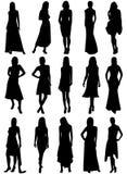 siluetas de las muchachas Foto de archivo libre de regalías