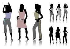 Siluetas de las muchachas de baile Foto de archivo libre de regalías