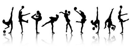 Siluetas de las muchachas del gimnasta Imagenes de archivo