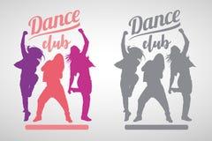 Siluetas de las muchachas expresivas que bailan estilos de la danza moderna libre illustration