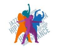 Siluetas de las muchachas que bailan estilos de la danza moderna libre illustration