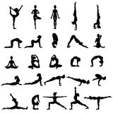 Siluetas de las mujeres Colección de actitudes de la yoga Sistema de Asana Fotos de archivo libres de regalías