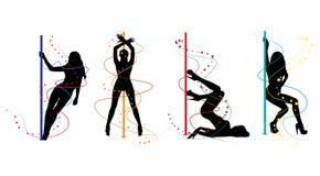 Siluetas de las mujeres de la danza de poste stock de ilustración