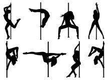 Siluetas de las mujeres de la danza de poste ilustración del vector
