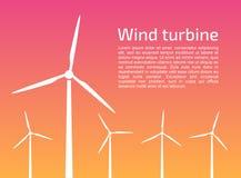 Siluetas de las turbinas de viento stock de ilustración