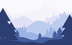 Siluetas de los árboles de pino en fondo de descoloramiento del paisaje Bosque azul Imagenes de archivo