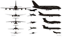 Siluetas de los aeroplanos del vector fijadas stock de ilustración