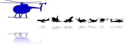 Siluetas de los aeroplanos fijadas Foto de archivo