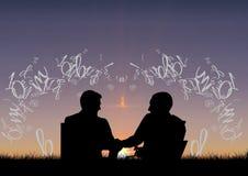 siluetas de los amigos delante de la puesta del sol con el texto alrededor de ellos libre illustration