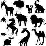 Siluetas de los animales Imágenes de archivo libres de regalías
