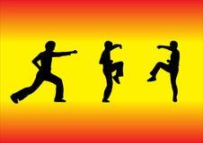 Siluetas de los artes marciales ilustración del vector