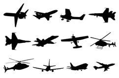 Siluetas de los aviones Imágenes de archivo libres de regalías