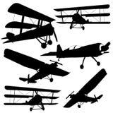 siluetas de los aviones de combate Imagen de archivo libre de regalías