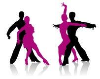Siluetas de los bailarines del salón de baile Imagen de archivo libre de regalías
