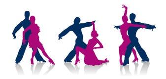 Siluetas de los bailarines del salón de baile Imagenes de archivo