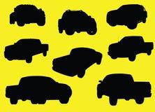 Siluetas de los carros de recolección Foto de archivo
