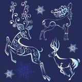 siluetas de los ciervos de la Navidad stock de ilustración