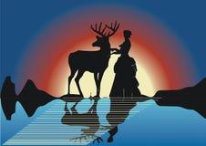 Siluetas de los ciervos y de la mujer stock de ilustración