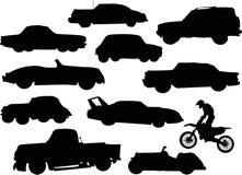 Siluetas de los coches Fotos de archivo libres de regalías