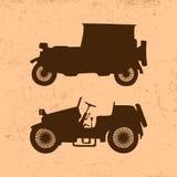 Siluetas de los coches retros del vintage stock de ilustración
