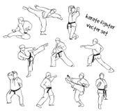 Siluetas de los combatientes del karate Fotos de archivo