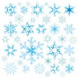 Siluetas de los copos de nieve Foto de archivo libre de regalías