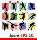 Siluetas de los deportes  Imagen de archivo libre de regalías