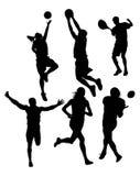 Siluetas de los deportes Fotografía de archivo