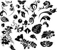 Siluetas de los elementos del follaje Imagen de archivo
