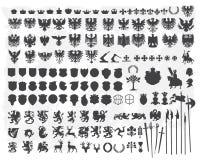 Siluetas de los elementos heráldicos del diseño stock de ilustración