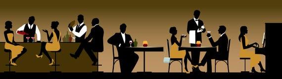Siluetas de los fabricantes de un día de fiesta del grupo de personas en un restaurante stock de ilustración