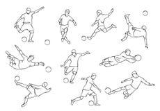 Siluetas de los futbolistas Fotos de archivo libres de regalías
