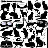 Siluetas de los gatos, gatitos Imagenes de archivo