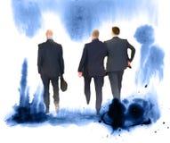 Siluetas de los hombres de negocios acertados que trabajan en la reunión Bosquejo con color de agua colorido foto de archivo libre de regalías