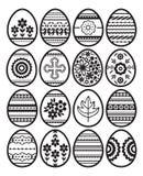 Siluetas de los huevos de Pascua negros aislados en el fondo blanco Huevos de Pascua del d?a de fiesta adornados con las flores y ilustración del vector