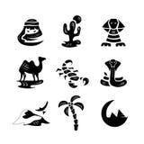 Siluetas de los iconos de los ejemplos del desierto Fotos de archivo libres de regalías