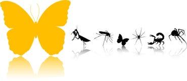 Siluetas de los insectos stock de ilustración