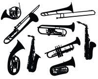 Siluetas de los instrumentoes de viento Imagen de archivo libre de regalías