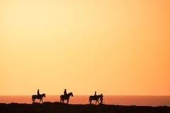 Siluetas de los jinetes del caballo Fotografía de archivo libre de regalías