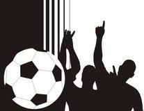 Siluetas de los jugadores de fútbol Imagen de archivo libre de regalías