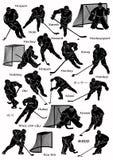 Siluetas de los jugadores del hockey sobre hielo Imágenes de archivo libres de regalías