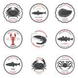 Siluetas de los mariscos del vector, etiquetas, emblemas Conjunto de modelos Foto de archivo