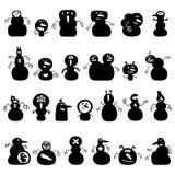 Siluetas de los muñecos de nieve Imágenes de archivo libres de regalías